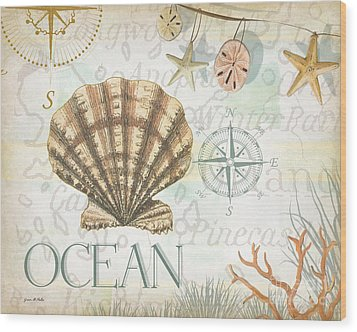 Beach Collage B Wood Print by Grace Pullen