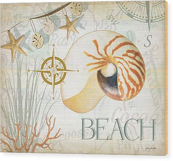 Beach Collage Wood Print by Grace Pullen