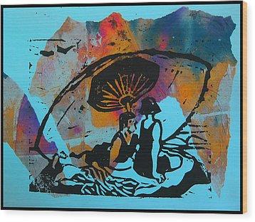 Beach Couple 1 Wood Print by Adam Kissel