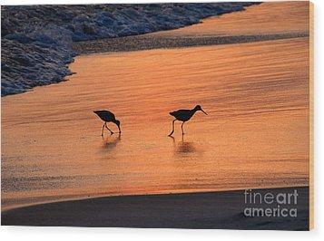 Beach Couple Wood Print by David Lee Thompson