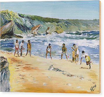 Beach Cricket Wood Print