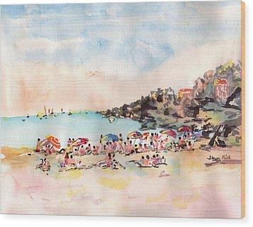Beach Day At Puerto Vallarta Wood Print by Sharon Mick