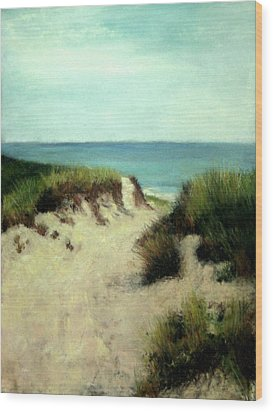 Wood Print featuring the painting Beach Dunes by Cindy Plutnicki