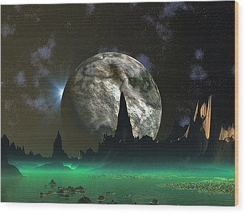 Beach Eclipse Wood Print by David Jackson