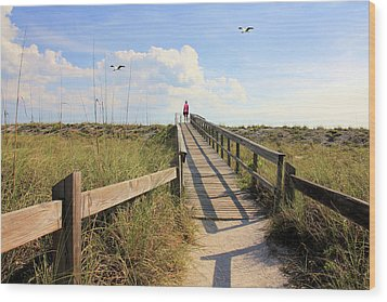 Beach Entrance Wood Print by Rosalie Scanlon