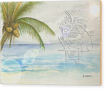 Wood Print featuring the digital art Beach Etching by Darren Cannell