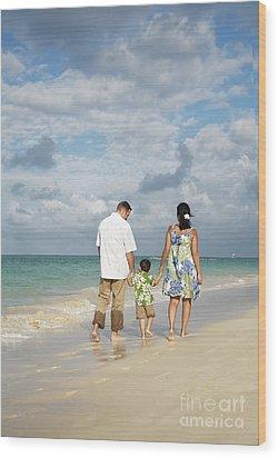 Beach Family Wood Print by Brandon Tabiolo - Printscapes