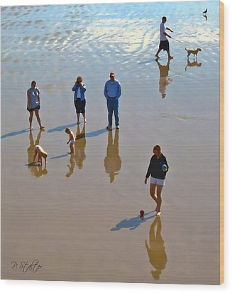 Beach Family Wood Print by Patricia Stalter