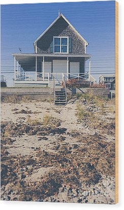 Beach Front Cottage Wood Print by Edward Fielding