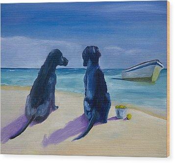 Beach Girls Wood Print by Roger Wedegis