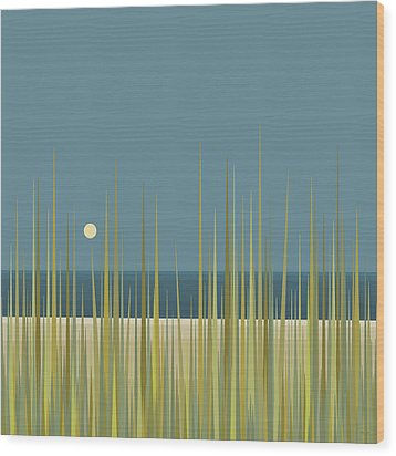Wood Print featuring the digital art Beach Grass And Blue Sky by Val Arie