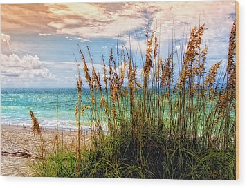 Beach Grass II Wood Print by Gina Cormier