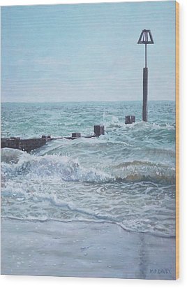 Wood Print featuring the painting Beach Groin With Autumn Waves by Martin Davey