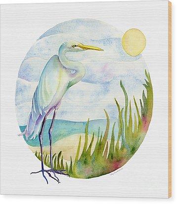 Beach Heron Wood Print by Amy Kirkpatrick