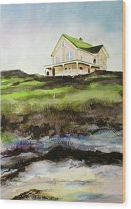 Beach House Block Island Wood Print