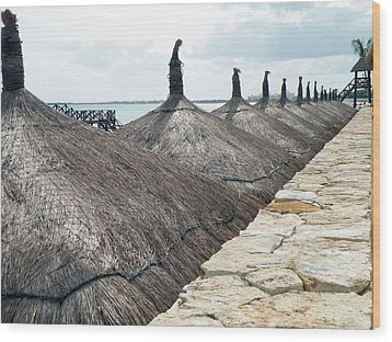 Wood Print featuring the photograph Beach Huts At The Grand Mayan by Dianne Levy