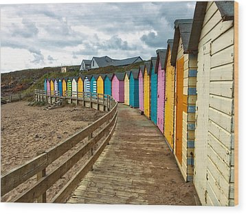 Beach Huts Wood Print by RKAB Works