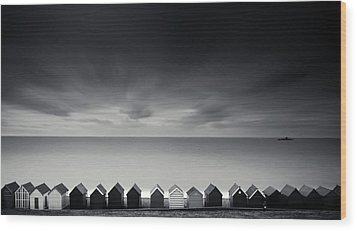 Beach Huts Wood Print by Www.matthewtoynbee.net