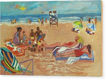 Wood Print featuring the painting Beach In August by Betty Pieper