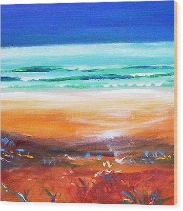 Wood Print featuring the painting Beach Joy by Winsome Gunning