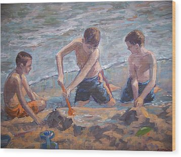 Beach Kids Wood Print