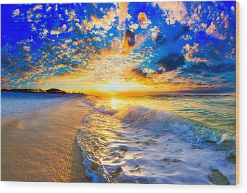 Wood Print featuring the photograph Beach Landscape Photography Golden Ocean Sunset by Eszra Tanner