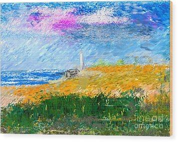 Beach Lighthouse Wood Print by David Lane