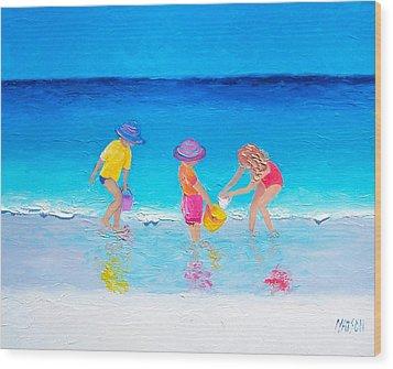 Beach Painting - Water Play  Wood Print by Jan Matson