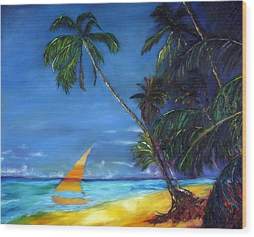 Beach Palm Sailboat Wood Print by Gregory Allen Page