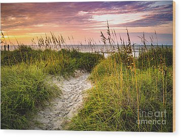 Beach Path Sunrise Wood Print