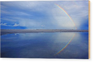 Beach Rainbow Reflection Wood Print