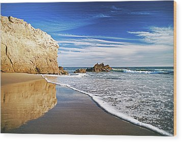 Beach Reflections Wood Print by Aron Kearney