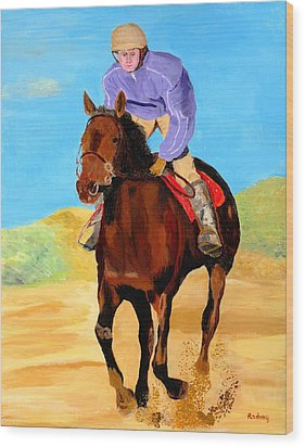 Wood Print featuring the painting Beach Rider by Rodney Campbell