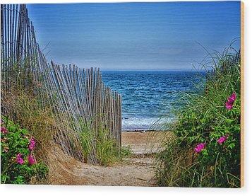 Beach Roses Wood Print by Tricia Marchlik