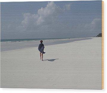 Beach Run Wood Print
