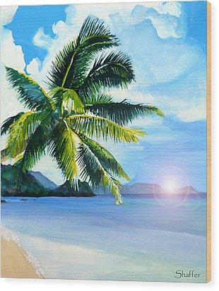 Beach Scene Wood Print by Curtiss Shaffer