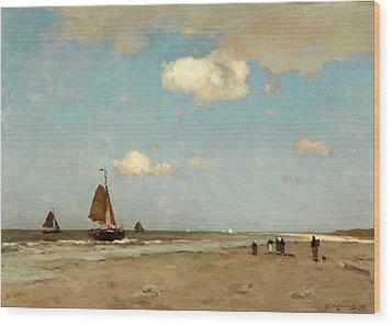 Wood Print featuring the painting Beach Scene by Jan Hendrik Weissenbruch