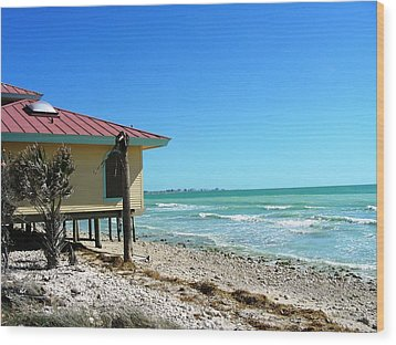 Beach Shack Wood Print by Peter  McIntosh