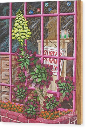 Wood Print featuring the painting Beach Side Storefront Window by Katherine Young-Beck