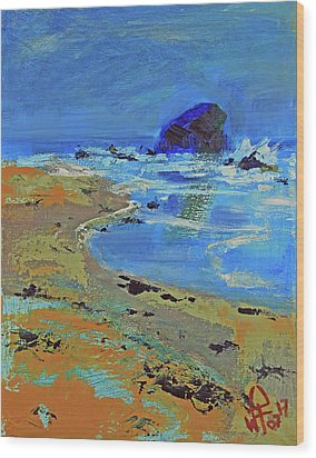 Wood Print featuring the painting Beach Solitude by Walter Fahmy