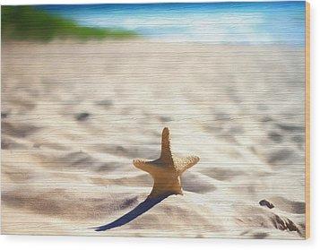 Beach Starfish Wood Texture Wood Print by Dan Sproul