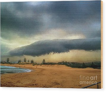 Wood Print featuring the photograph Beach Storm At Sunset By Kaye Menner by Kaye Menner