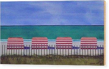 Beach Stripes Wood Print by Cory Clifford
