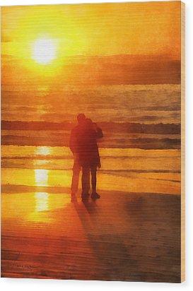 Wood Print featuring the digital art Beach Sunrise Love by Francesa Miller