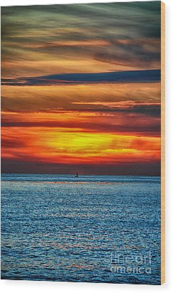 Wood Print featuring the photograph Beach Sunset And Boat by Mariola Bitner