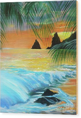 Beach Sunset Wood Print by Jenny Lee