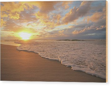 Beach Sunset With Golden Clouds Wood Print