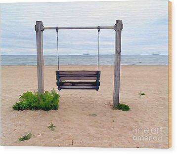 Beach Swing Wood Print