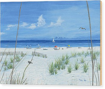 Wood Print featuring the painting Beach Time by Mike Ivey