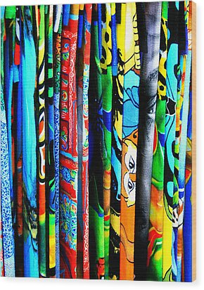Beach Towels Wood Print by Perry Webster